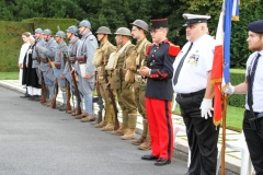 Oise-Aisne American Military Cemetery:  Re-enactors (French and American) participate in the 100th anniversary commemoration ceremony at Oise-Aisne American Military Cemetery.