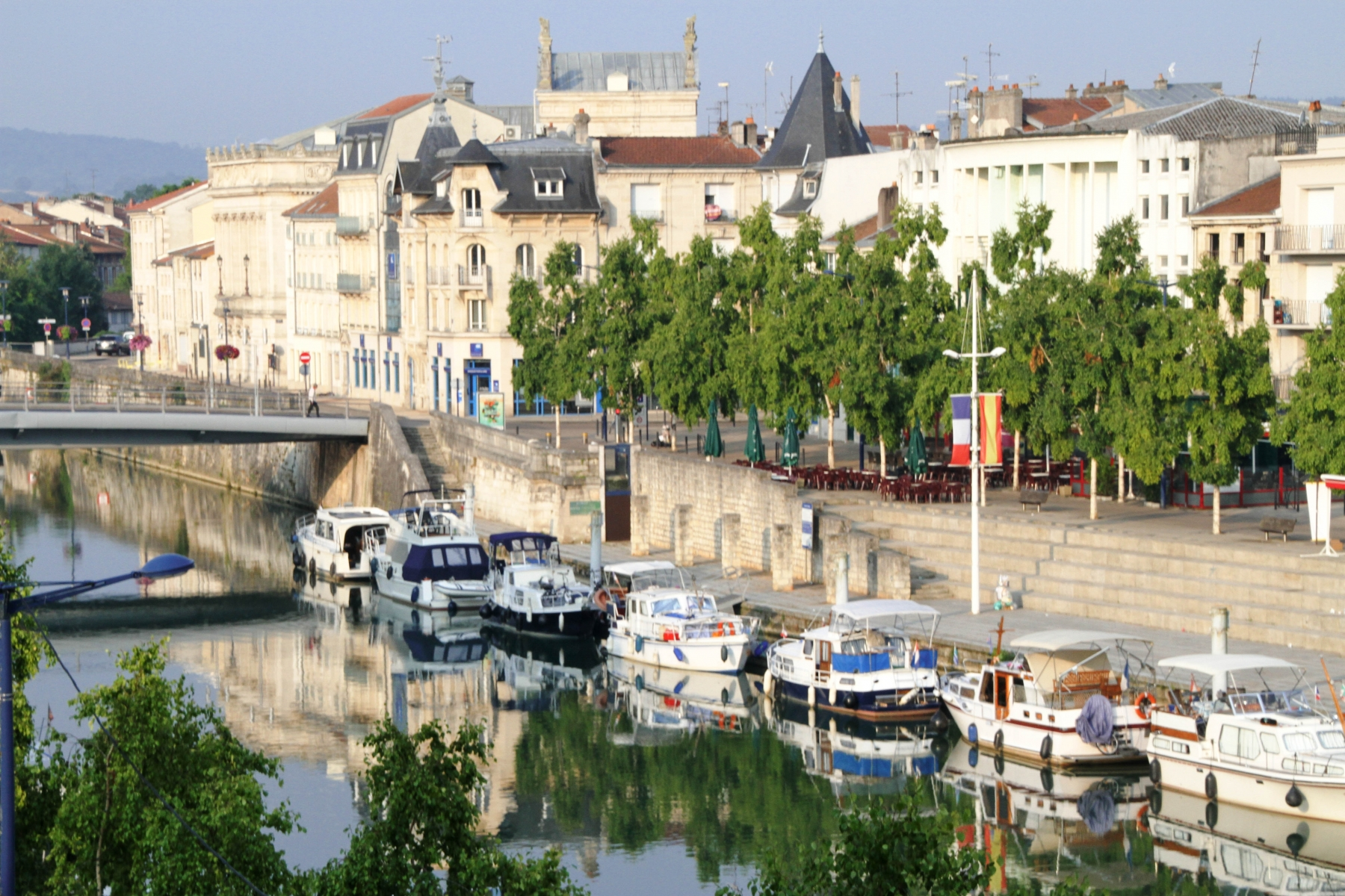 Verdun: Early morning view of the city center of Verdun, along the Meuse River in France's Lorraine region.
