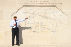 Chateau-Thierry American Monument:  Our tour historian, Brig. (Ret.) John Smales, uses a terrain map at the Chateau-Thierry American Monument to describe the Aisne-Marne Campaign of 1918.